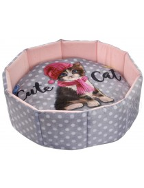 "CAMA MASCOTA REDONDA ""CUTE CAT"""