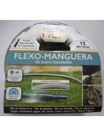 FLEX-MANGUERA DE ACERO INOXIDABLE 15 METROS CON LANZA DE RIEGO